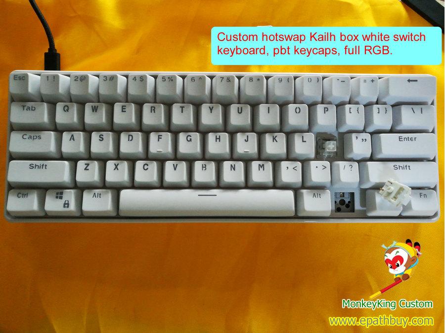 Hot swap keyboard, hot swap kailh box white switch keyboard, hot swap RGB backlit keyboard, HSMX keyboard