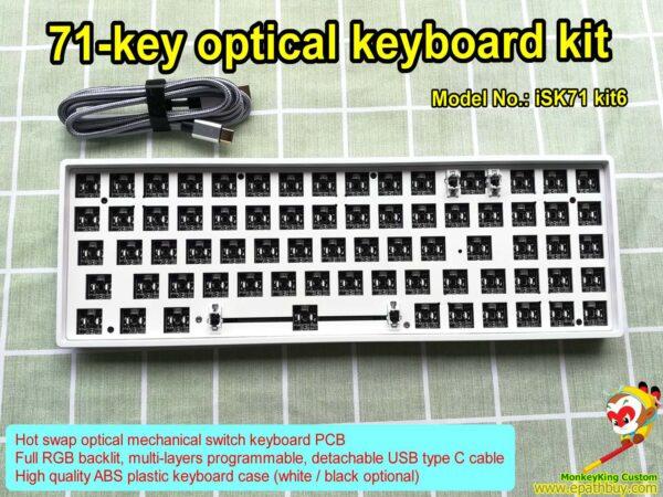 Optical key switch keyboard kit iSK71 kit6: compact hot swap optical keyboard PCB, full RGB backlit, programmable, USB type C cable, 2021 best custom keyboard kit for DIY