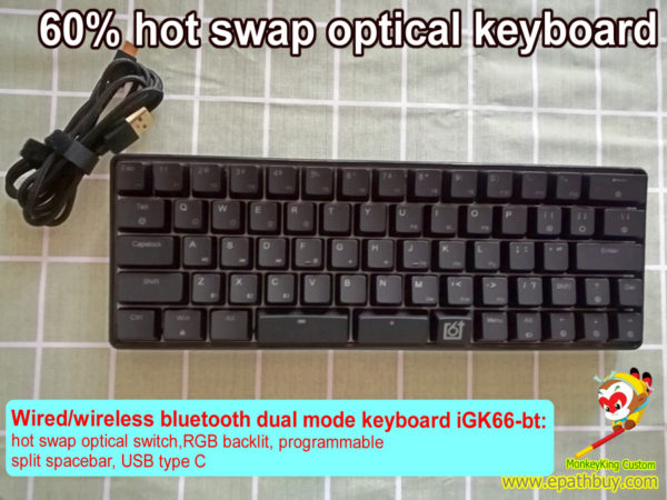 Hot swap wireless mechanical keyboard: compact 66 keys with arrow keys, RGB backlit,programmable, hot swappable Gateron optical axis