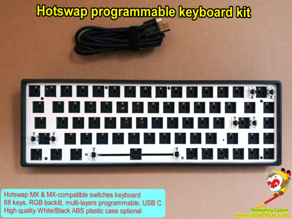 Hot swap programmable mechanical keyboard barebone kit iGK68xs (GK68xs),16.8M RGB backlight, best buy 60% compact hot swap mx switch keyboard kit, custom DIY keyboard kit