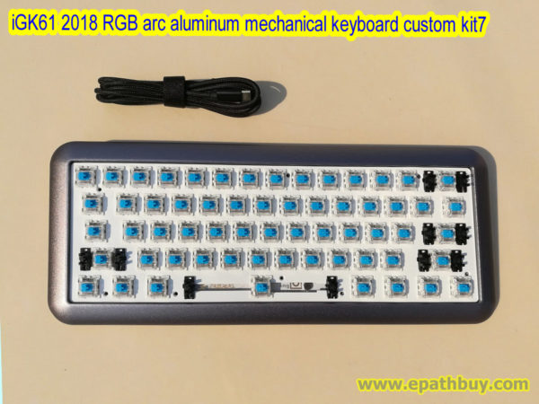 2018 arc aluminum mechanical keyboard custom kit for iGK61, hotswap pcb, plugged swtiches (cherry mx, gateron, kailh box optional)
