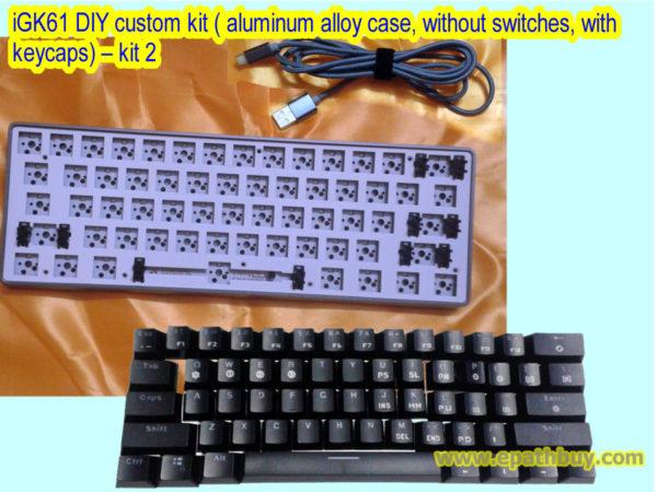 iGK61 DIY custom kit ( aluminum alloy case, without switches, with keycaps) – kit 2