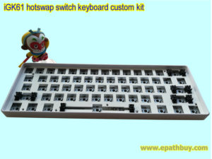 iGK61: 61key poker layout keyboard customisable kit (cool RGB backlit, fully programmable, hotswap switch PCB, white ABS plastic case)- kit 6b