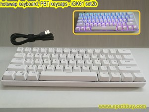 60% white hotswap mechanical keyboard, ptb keycaps, full rgb, programmable, 61 key poker layout – SmartMonkey iGK61 set2b