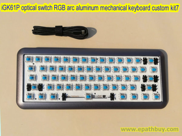 Custom 60% RGB optical switch gaming mechancial keyboard kit, 61 key hotswap PCB, Gateron optical switch red, black, brown, blue, yellow, silver optional