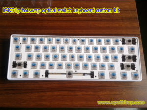 iGK61p hotswap optical switch RGB backlit keyboard custom kit: white ABS case,Gateron blue,black,red,brown and silver optical switch optional