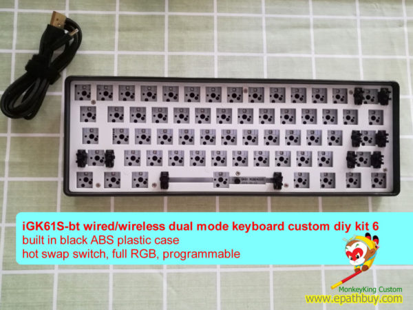 iGK61S-bt 61 keys 60% mechanical keyboard diy custom kit: wired/wireless bluetooth dual mode,hot swap mx switch, RGB, fully programmable