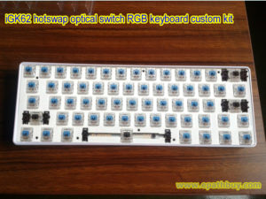 iGK62 DIY mechanical keyboard custom kit: 62-key with dedicated arrow keys, RGB backlit,ABS case,fully multi-layer programmable, hotswap Gateron blue,black,red,brown and silver optical switch optional