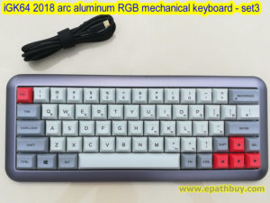 iGK64 2018 arc aluminum RGB mechanical keyboard with replaceable switches, removeable switch keyboard, hot swappable keyboard