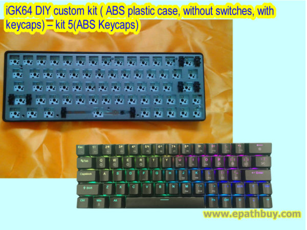 iGK64 DIY custom kit ( ABS plastic case, without switches, with keycaps) – kit 5(ABS Keycaps)
