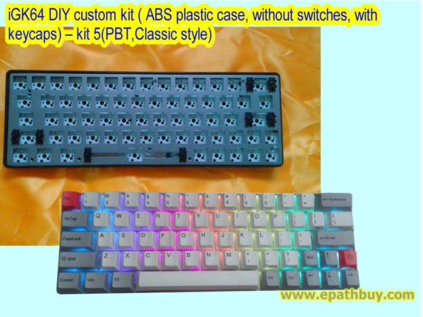 iGK64 DIY custom kit ( ABS plastic case, without switches, with keycaps) – kit 5(PBT,Classic style)
