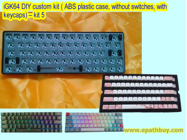 iGK64 DIY custom kit ( ABS plastic case, without switches, with keycaps) – kit 5