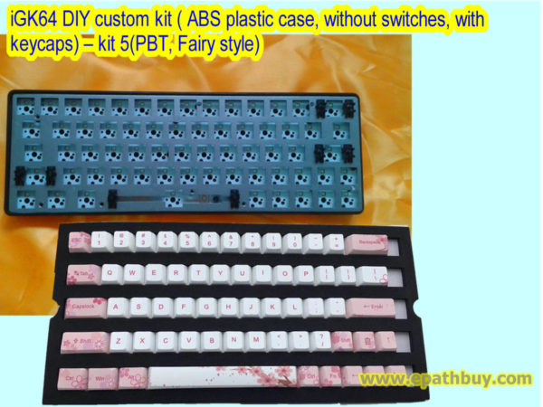 iGK64 DIY custom kit ( ABS plastic case, without switches, with keycaps) – kit 5(PBT, Fairy style)