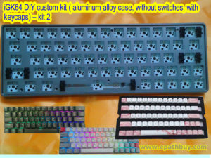 iGK64 DIY custom kit ( aluminum alloy case, without switches, with keycaps) – kit 2