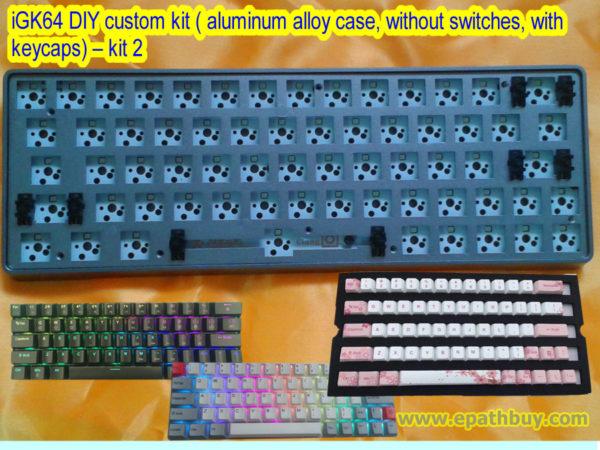 iGK64 DIY custom kit ( aluminum alloy case, without switches, with keycaps) – kit 2