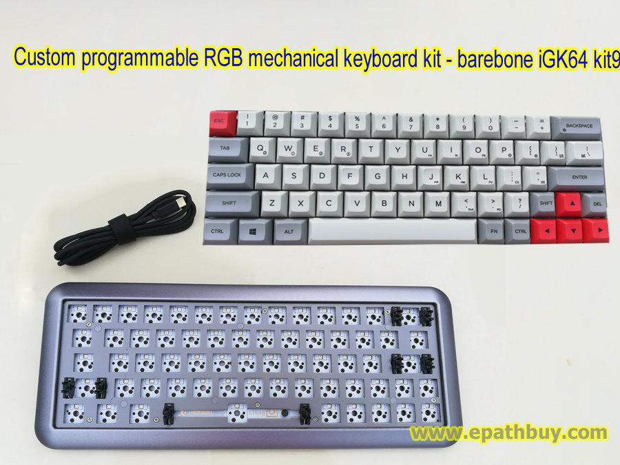 Aluminum RGB mechanical keyboard custom CIY kit with customized 64-key PBT  dye-subbed DSA keycaps set - iGK64 kit8