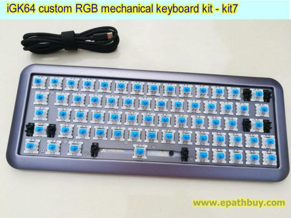 iGK64 custom RGB mechanical keyboard kit,2018 arc aluminum alloy case, hotswap PCB, cherry mx, gateron, kailh box switches optional