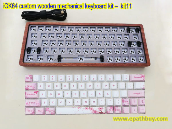 Custom wooden mechanical keyboard kit with 64 key PBT dye-subbed blossom Cherry keycaps set, diy hotswap mx switches PCB
