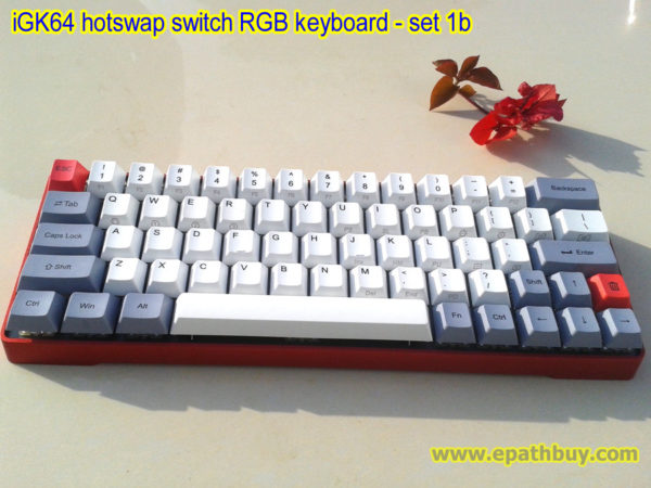 64-key small mechanical keyboard, PCB with hotswappable switch design, build your own keyboard easily, red aluminum alloy metal case and pbt dye-subbed keycaps (classic)