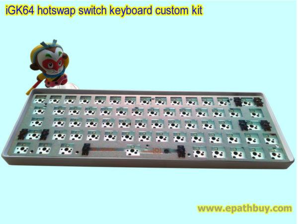iGK64: 60% RGB keyboard custom built kit ( hot swap switch PCB, white ABS plastic case, aluminum plate) - kit 6b