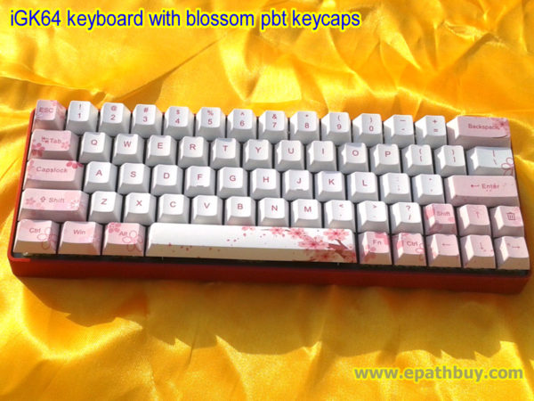 iGK64: compact 60% RGB backlit mechanical keyboard with dedicated arrow keys , red aluminum alloy case with blossom pbt dye-subbed keycaps, (custom key, Cherry MX blue, red, brown, Gateron red, blue, brown and black switch optional)