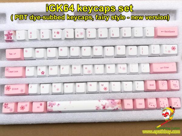 iGK64 pbt keycaps set dye subbed keycaps fairy style new version for GK64 (iGK64) mechanical keyboard