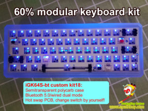 iGK64S wireless modular keyboard kit, bletooth 5.0/ wired dual mode, hot swap PCB,rgb, programmable, custom 60 mechanical keyboard barebones kit for diy