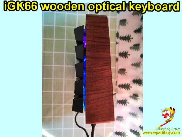 custom iGK66 wooden optical key switch RGB backlit mechanical keyboard