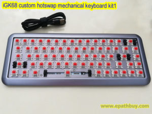 iGK68 custom hotswap mechanical keyboard kit, 2018 arc aluminum alloy case, cherry mx, gateron, kailh box switches optional