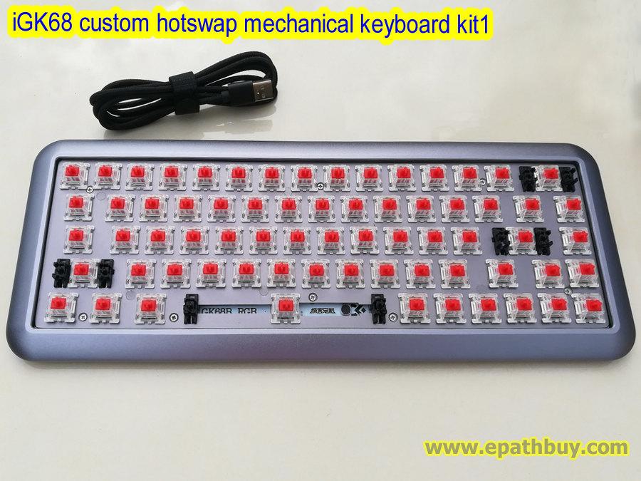 iGK68 ( GK68 ) custom hotswap mechanical keyboard kit, 2018 arc aluminum  alloy case, PCB, pre-plugged in mx switches - kit1