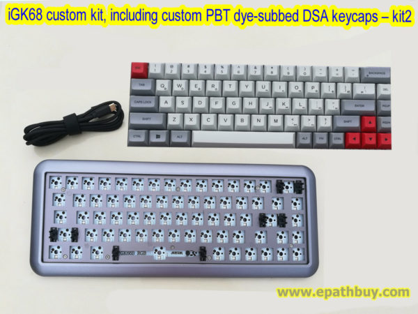 iGK68 custom hotswap mechanical keyboard kit, arc aluminum alloy case, with 68 key custom PBT dye-subbed DSA keycaps set