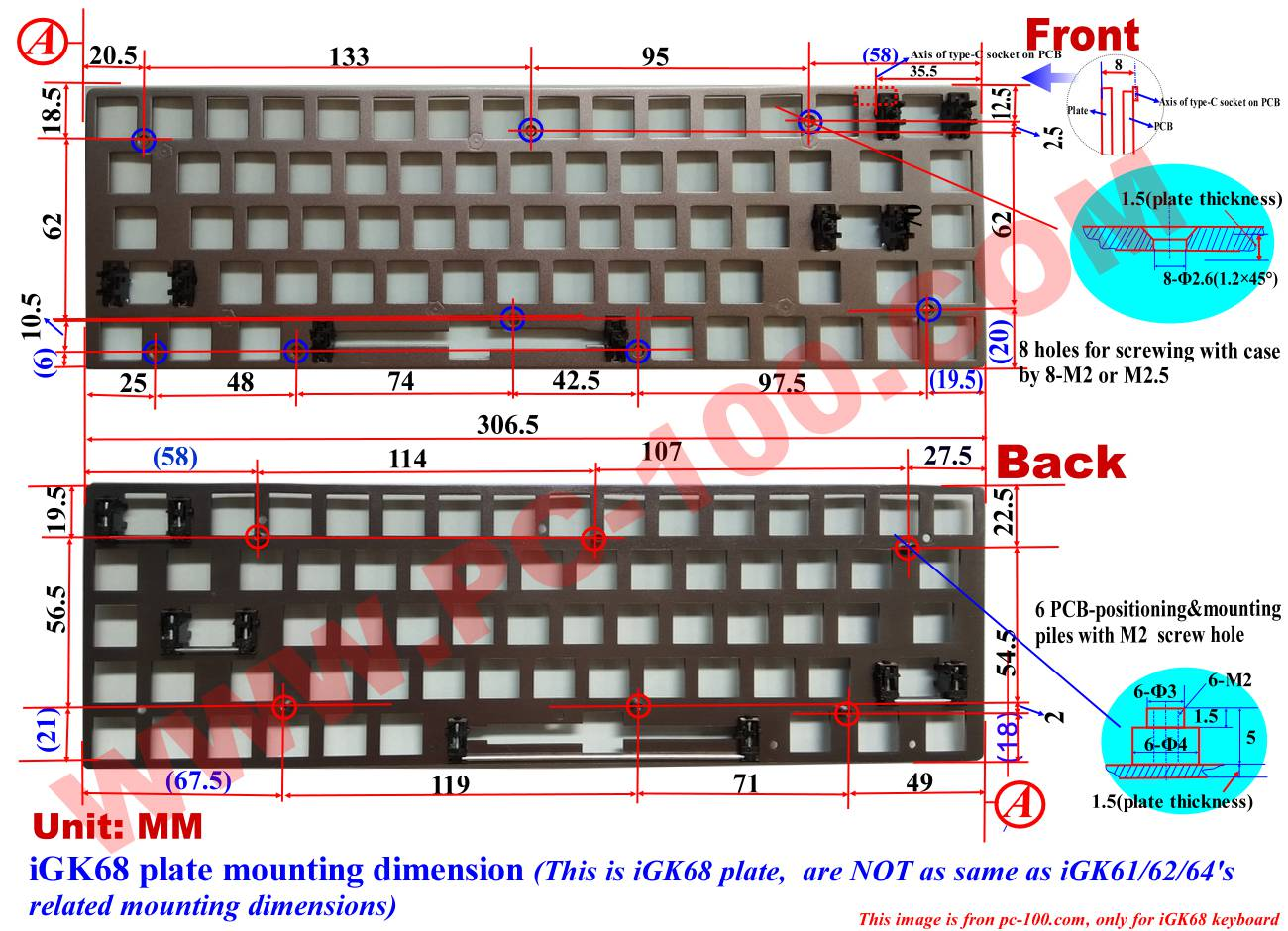 iGK68 (GK68) mechanical keyboard plate's mounting dimension