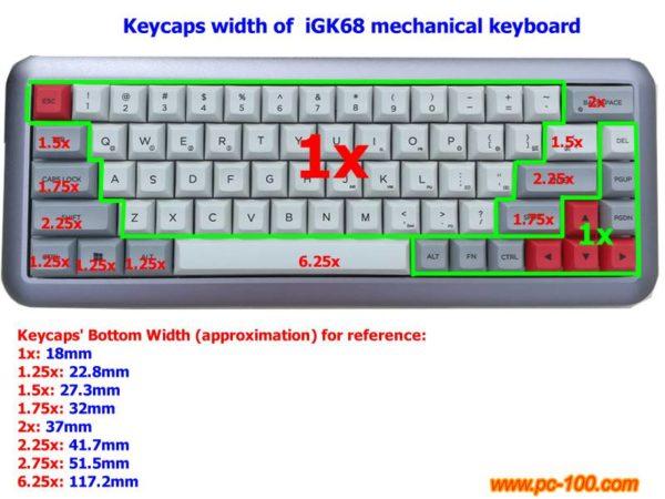 iGK68 ( GK68 ) mechanical keyboard keycaps' size