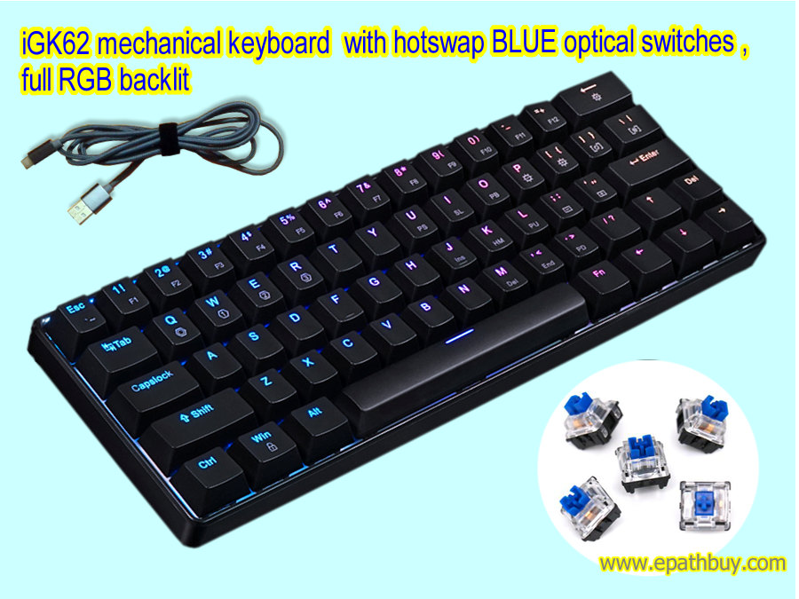 iGK62 optical switches mechanical keyboard, custom kits (ABS plastic case)