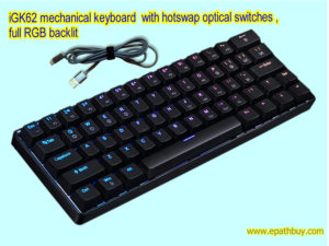 iGK62 programmable mechanical 60% keyboard with optical switches, RGB back light