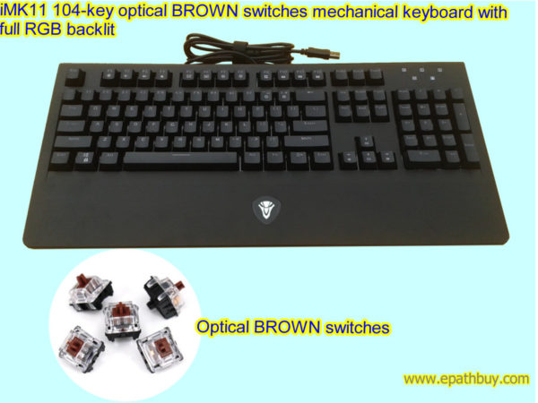 iMK11 104-key optical Brown switches mechanical keyboard with full RGB backlit