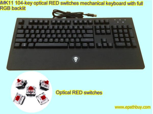 iMK11 104-key optical RED switches mechanical keyboard with full RGB backlit