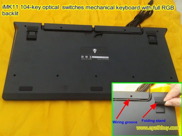 iMK11 104-key optical switches mechanical keyboard with full RGB backlit, folding stand, wiring groove..