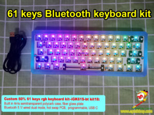 Custom 60% rgb keyboard kit iGK61S-bt kit,61 keys bluetooth / USB dual mode mechanical keyboard custom kit, underglow
