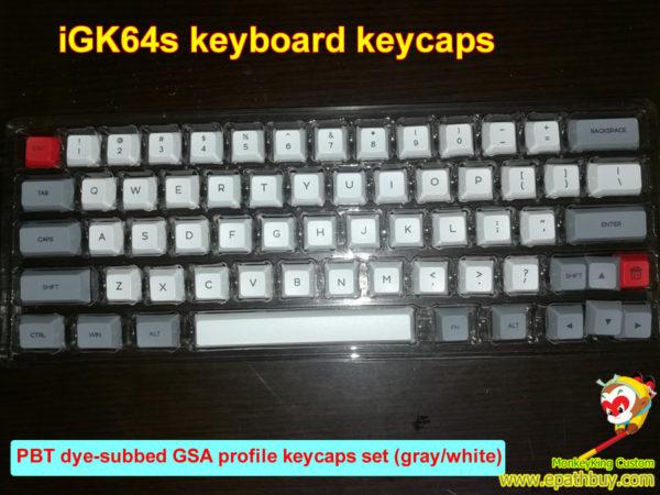 White/gray 64-key PBT dye-subbed GSA profile keycaps set for iGK64S mechanical keyboard