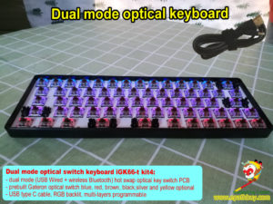 Cheap dual mode optical keyboard kit iGK66-bt: usb wired/ wireless bluetooth 2-in-1 mechanical keyboard diy custom kit, rgb backlit, programmable