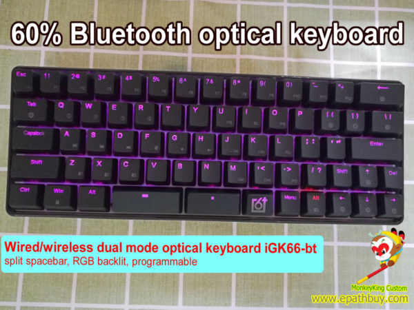 Optical modular mechanical keyboard: wired + wireless bluetooh (2 in 1), 66 keys 60% hot swappable Gateron optical key switch, RGB led backlit,programmable