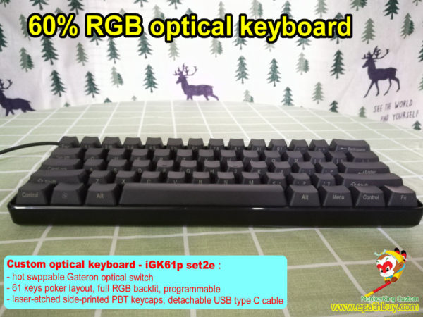 best 60% optical keyboard, custom 60 percent 61-key hot swap Gateron optical key switch keyboard, RGB backlit, programmable