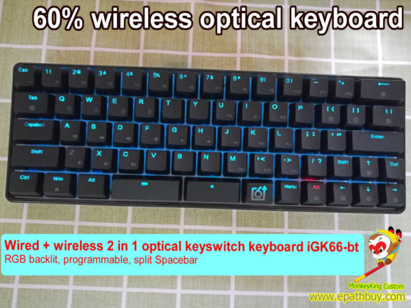 Wireless optical keyboard: 66 keys 60% hot swappable Gateron optical key switch, RGB led backlit,programmable
