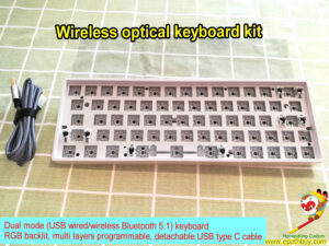 Custom wireless Bluetooth 5.1/ USB wired 2-mode hot swap Gateron optical switch mechanical keyboard kit, rgb backlit, multi layers programmable, USB type C